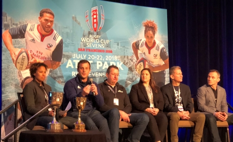 World Cup 7's Legacy Panel.   Including former Eagle Nathalie Marchino, USAR CEO Dan Payne, ATAVUS CEO Ross Young and Play Rugby USA Founder and CEO, Mark Griffin. Note the trophies in the lower left.