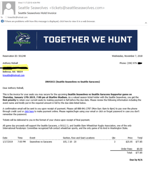 SeaWolves Invoice